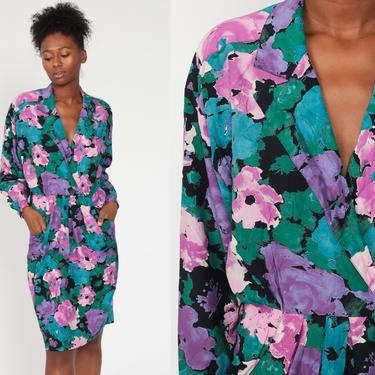 Floral Wrap Dress Purple Long Dolman Sleeve Dress 80s Boho Print Midi 1980s Deep V Neck Bohemian Vintage High Waist Medium 8 by ShopExile