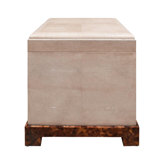 "Karl Springer Exceptional ""Kyoto Box"" End Table in Shagreen 1980s"