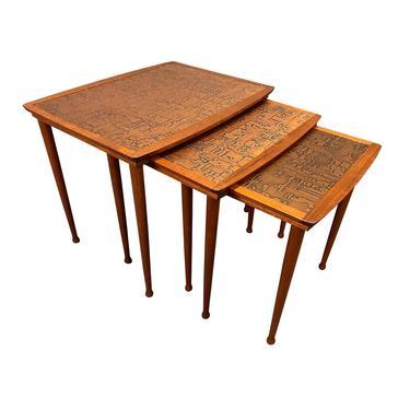 Vintage Danish Mid Century Modern Teak and Copper Nesting Tables by Jørgen Aakjær Jørgensen for Møbelintarsia by AymerickModern