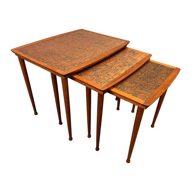 Vintage Danish Mid Century Modern Teak and Copper Nesting Tables by Jørgen Aakjær Jørgensen for Møbelintarsia by AymerickModern