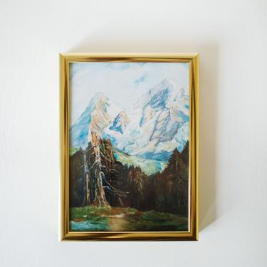 Vintage Oil Painting Print in Brass Gold Frame, Mountain Print, Trees, Blues and Greens, Gift for Him Her, 5 x 7 by cedargrey