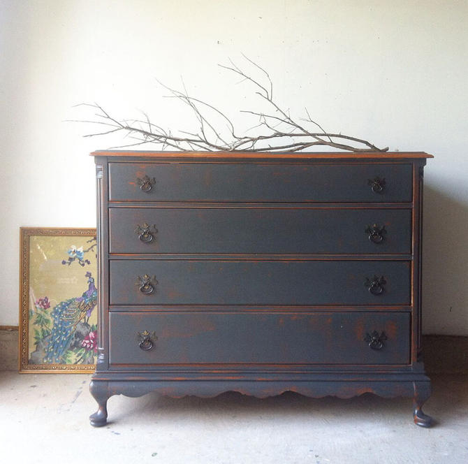 Solid Mahogany Dresser in Charcoal with light wood top — 0202