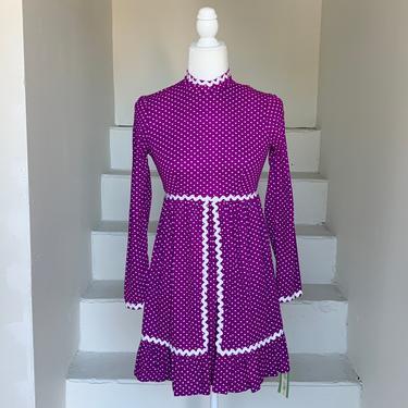 1970s Dotted Purple Mini Dress Unworn Tags On 32 Bust Vintage by AmalgamatedShop