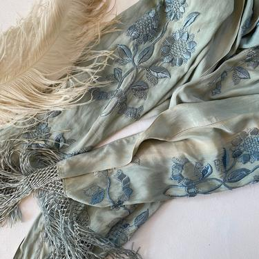 Antique Blue Green Silk Piano Shawl, Embroidered Floral Design, Long, Fringe, Please Read Condition, Prop, Wall Hanging by luckduck