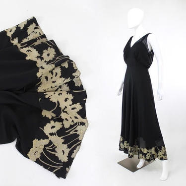 1930s Evening Gown - 1930s Bias Cut Evening Gown - 1930s Silk Gown - 1930s Floral Evening Gown - 1930s Floral Dress - 30s Dress | Size Small by VeraciousVintageCo