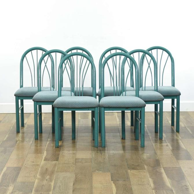 Set Of 8 1989 Art Deco Revival Teal Dining Chairs
