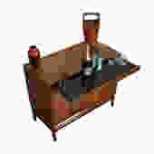 Drexel Mid Century Modern Walnut Serving \/ Bar Cabinet
