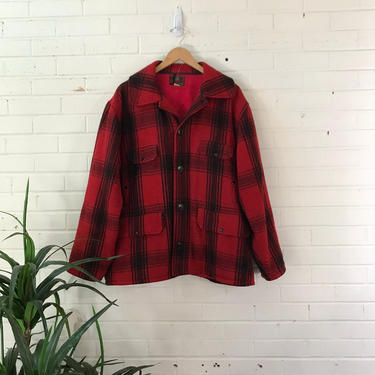 Vintage 70s Johnson Wool Red Plaid Hunting Jacket / Heavy Fleece-Lined Coat / Size 50 Chest by AmericanDrifter