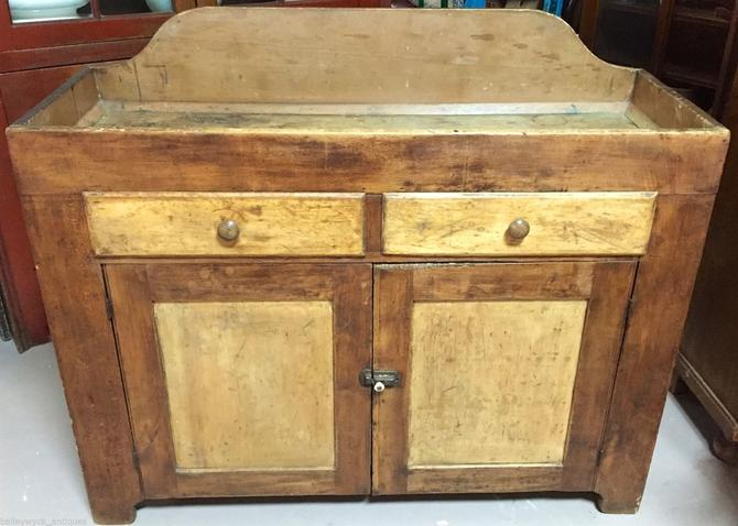 Antique Primitive Country Pine Dry Sink | Bar | Kitchen Island