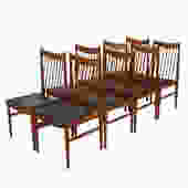 Set of 8 Sibast Arne Vodder Danish Teak Spindle Back Chairs