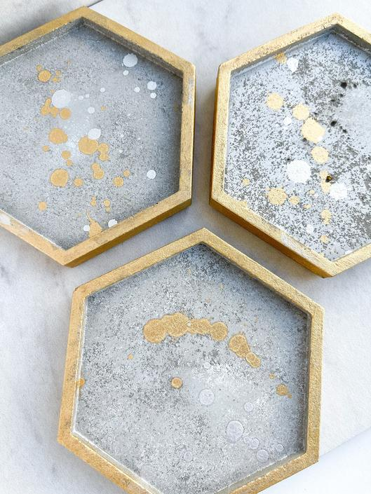 Rustic Constellation Hexagon Concrete Coasters, Set of 4 - Gold and Silver Accents by SundayStudioOC