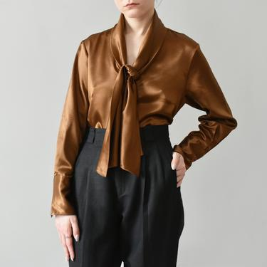 vintage copper tie neck blouse / silky button down shirt / S by ImprovGoods