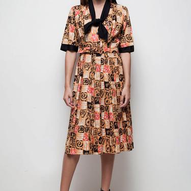 shirtwaist dress sailor collar ascot vintage 70s pleated shirtdress Hawaiian floral print short sleeve L LARGE by shoprabbithole