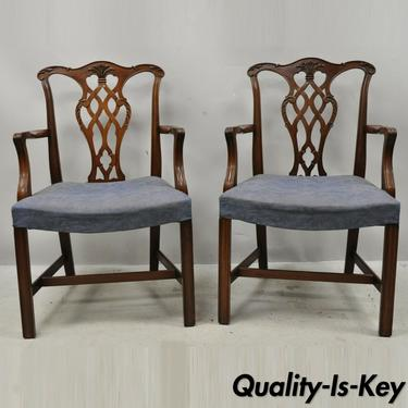 Vintage Georgian Chippendale Carved Mahogany Dining Captains Arm Chairs - Pair B