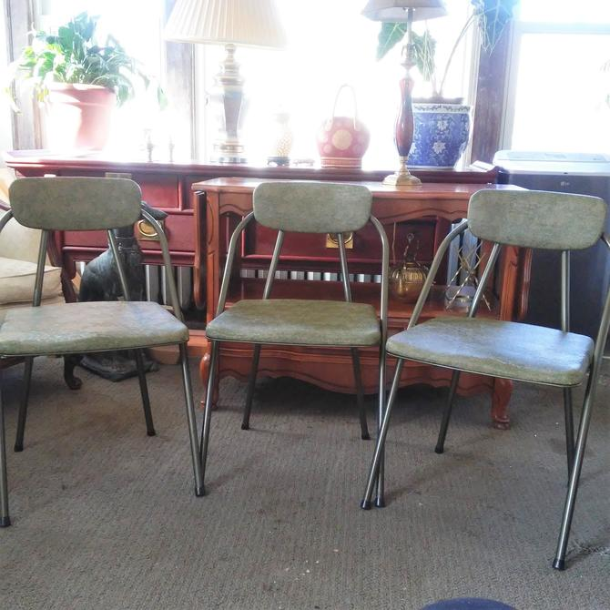 """VINTAGE Cosco Chairs// (3) Retro """"Stylaire"""" Cosco Folding Chairs//  Mid Century Modern Seating// Guest Seating// Metal Folding Dining Chairs by 3GirlsAntiques"""