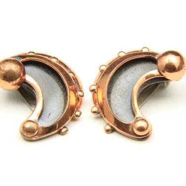 Vintage Copper Renoir Clip On Earrings Modernist 60s Half Moon Shadowbox Retro by HouseofVintageOnline