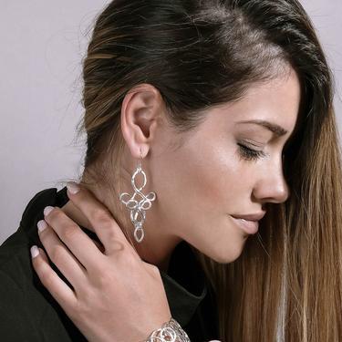 Romantic Silver Statement Dangle Earrings, Silver Dangling Chandelier Ear Wires, Long Boho Silver Earrings by OrlySegal