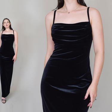Black Velvet Bias Dress   90s Cowl Neck Velvet Dress by WisdomVintage