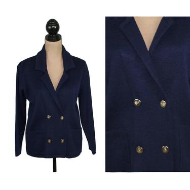 Double Breasted Navy Blue Cardigan with Gold Buttons & Patch Pockets, Wool Blend Knit Sweater Jacket, Women Vintage Clothes Made in Italy by MagpieandOtis
