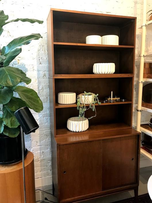 Paul McCobb Cabinet with Two Sliding Doors and Two Bookshelves