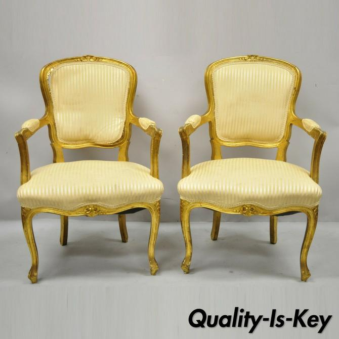 French Louis XV Style Gold Gilt Fauteuil Arm Chairs to Refinish DIY - a Pair