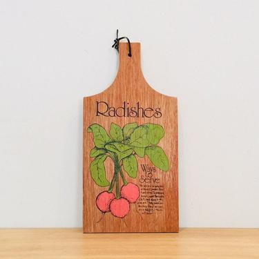Vintage Mid Century Modern Radishes Kitchen Decor Cutting Board by DelveChicago