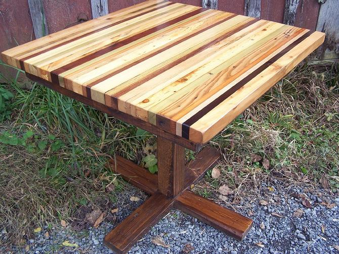 Butcher Block Kitchen Table with Reclaimed Wood Pedestal ...
