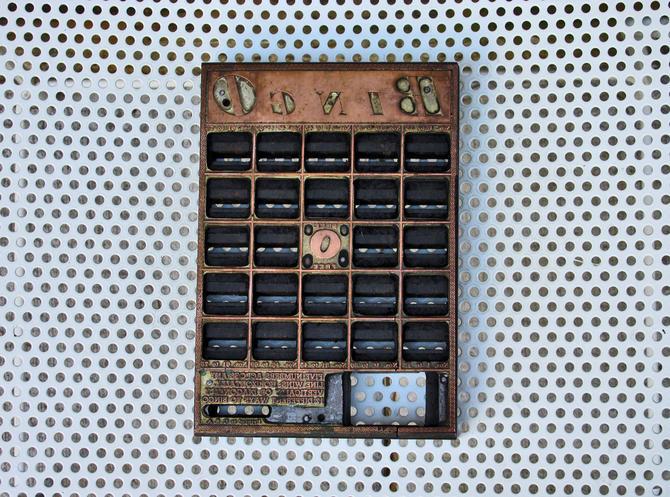 Vintage Bingo Printing Press Block Letterpress Metal Plate On Wood Mount