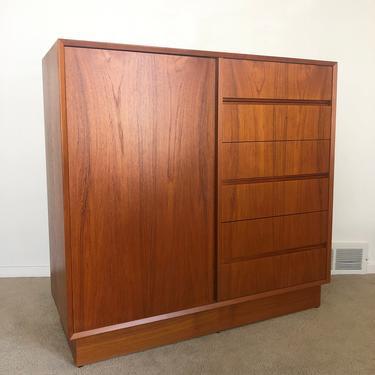 Danish modern teak gentleman's chest wardrobe dresser mid century by TripodModern