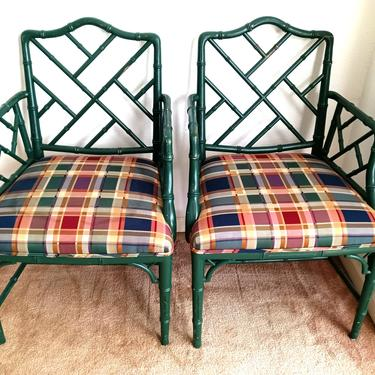 Pair Faux Bamboo Chinese Chippendale Painted Arm Chairs by ModernPicks