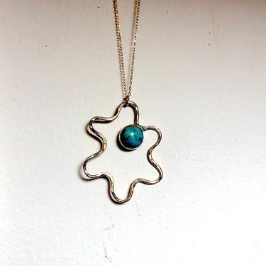 14k gold-filled turquoise amoeba squiggle pendant by RachelPfefferDesigns
