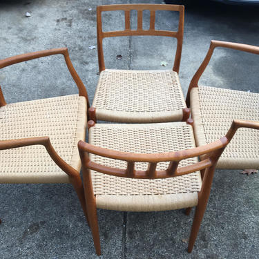 Danish Modern Mid century Vintage J.M Moller 79 Teak Chairs by DanishGarage