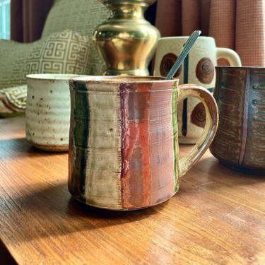 Vintage Ceramic Pottery Mug - Striped, Rust Olive Mustard Yellow Toffee Brown, Rustic, 1970s, by VenerablePastiche