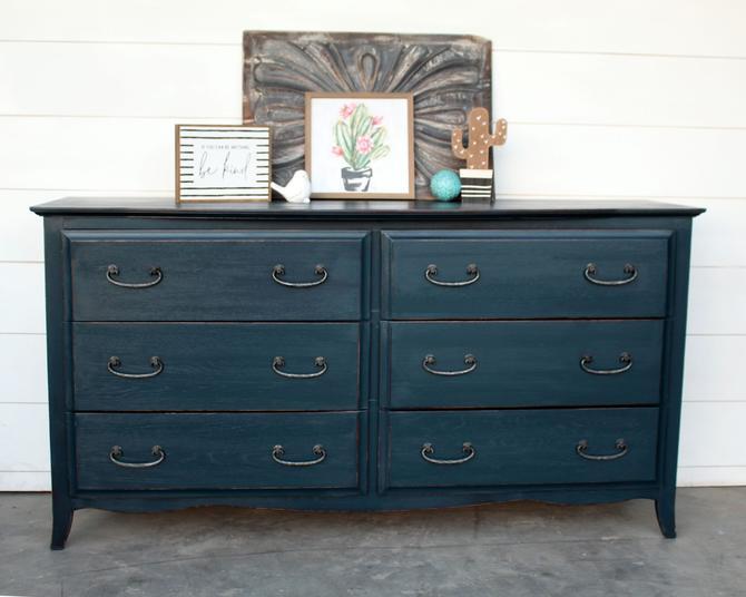 Dark Teal 6 Drawer Dresser