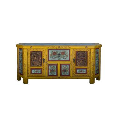 Chinese Distressed Yellow Blue People Motif TV Console Table Cabinet cs6102E by GoldenLotusAntiques