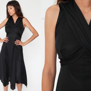 Black Party Dress Grecian Dress 70s Midi Dress 1970s Boho Empire Waist Deep V Neck Sleeveless High Low Drape Gown Formal Medium 8 by ShopExile