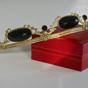 Antique Georgian Onyx Tiara Diadem, Regency Onyx Jewel Gilt Bandeau, Victorian Tiara Hair Wreath, Reenactor Jewelry, Bridal Headband by CombAgain