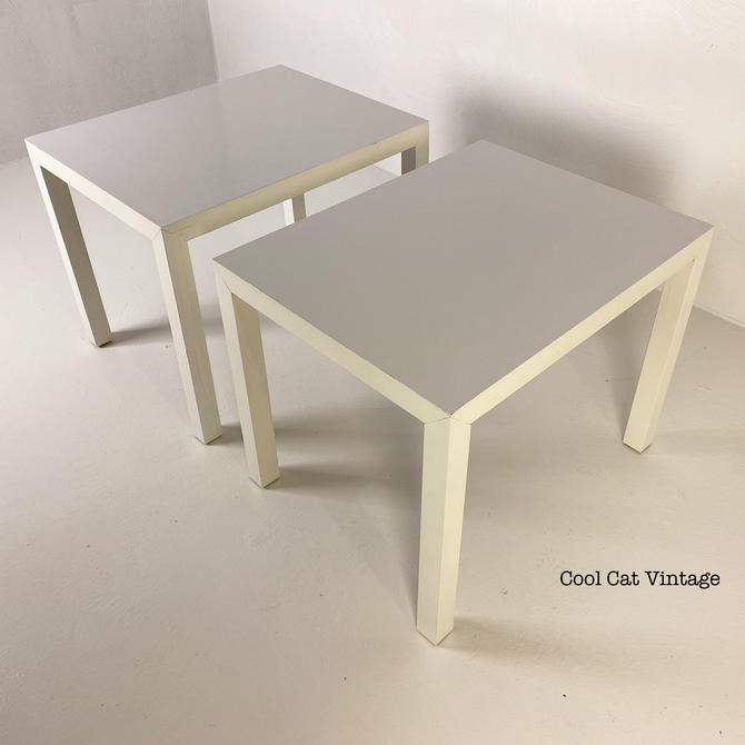 Parsons Style Solid Wood End Tables in White by Lane, Circa 1975 - *Please see notes on shipping before your purchase. by CoolCatVintagePA
