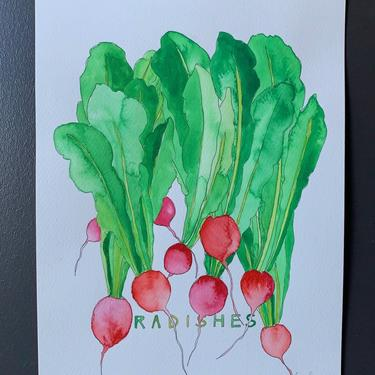 Radishes Original Watercolor Painting