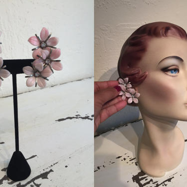 Climbing to Higher Heights - Vintage 1950s 1960s Pale Pink Soft Plastic Floral Climber Earrings by RoadsLessTravelled2