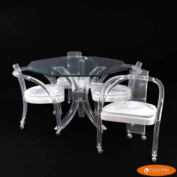 Lucite Dining Set With 4 Chairs