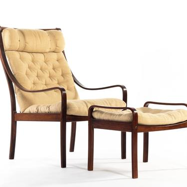 Mid Century Modern Bentwood Lounge Chair w/ Ottoman in Rosewood and Original Fabric made in Denmark by ABTModern
