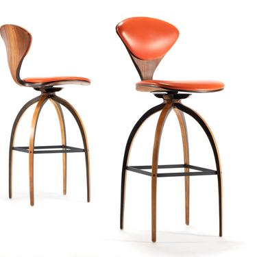 Set of Two Norman Cherner Bar Height Bar Stools for Plycraft by ABTModern
