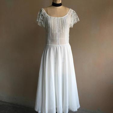 Vintage 70s Sheer Lace & Linen Cotton Gauze Dress by LucileVintage