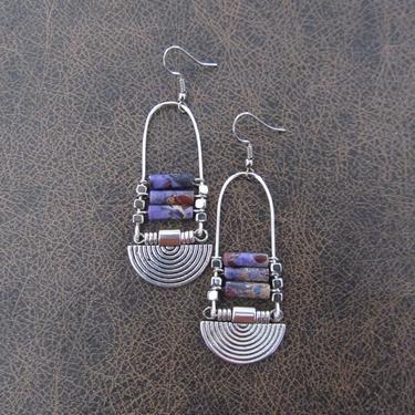Purple imperial jasper earrings, silver tribal chandelier earrings, unique ethnic earrings, modern southwestern earrings, boho chic earrings by Afrocasian