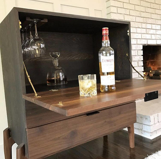 Bar cabinet, liquor cabinet, Bar, wine storage, wine cabinet by WoodbeeWoodworks