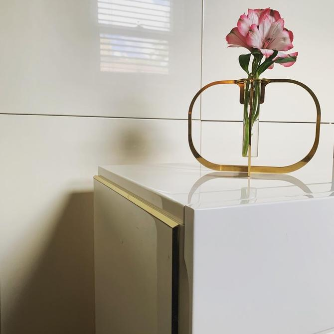 Pair of 80's White Lacquer Nightstands