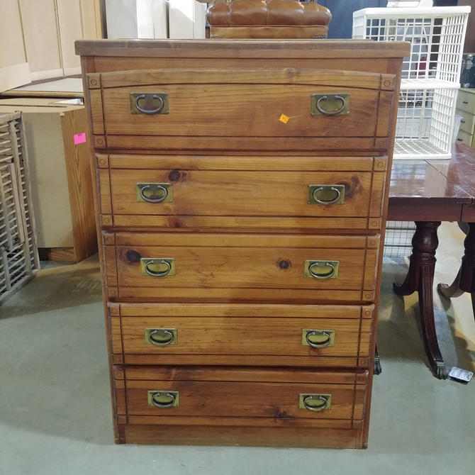 Five Drawer Dresser with Newsprint Interior