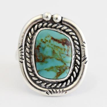 70's Southwestern turquoise sterling size 6.75 rocker ring, asymmetrical 925 silver brown matrix turquoise tribal solitaire by BetseysBeauties