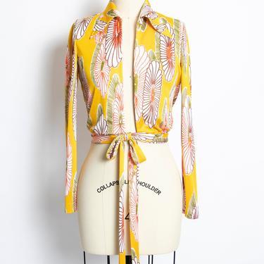 1970s Blouse Diane Von Furstenberg Tie Top XS by dejavintageboutique